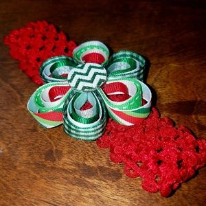 """Other - 2/$20 """"Flower"""" shaped Christmas hairbow"""